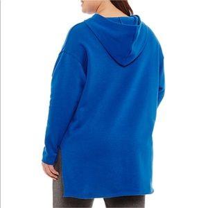 Tops - 1X Blue Long Sleeve Knit Hoodie 1X